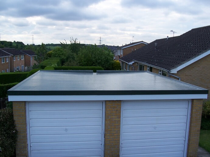 Double garage roof ridgeway quality flat and fibre for Flat roof garage designs